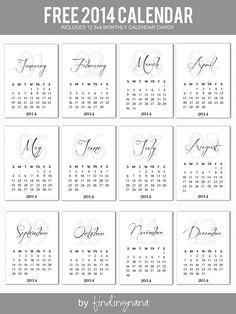 Free 2014 Calendar printable, leena loh