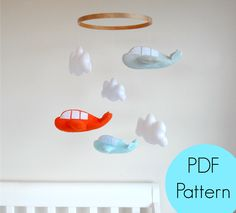 PDF Pattern, Felt Airplane & Clouds, Baby Mobile, Garland, Party Favours, Tutorial, DIY, modern, Baby Boy, Baby Girl, Unisex, Felt Baby Mobile, Aeroplane, Aviation, Maisie-Moo Handmade Felt Creations