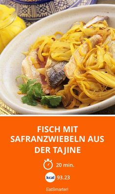 The Tagine of Fish with Saffron Onions recipe out of our category saltwater Fish! EatSmarter has over healthy & delicious recipes online. Onion Recipes, Eat Smarter, Coriander, Cilantro, Spaghetti, Yummy Food, Le Creuset, 20 Min, Fresh