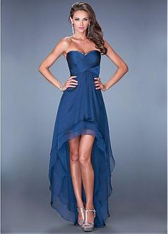 Charming Silk-like Chiffon Sweetheart Neckline Hi-lo A-line Prom Dresses