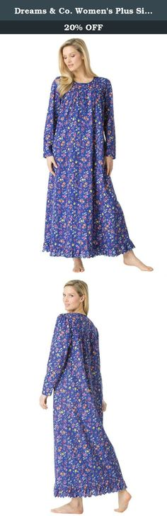 """Dreams & Co. Women's Plus Size Long Sleeve Gown Blueberry Floral,3X. Pretty details add a special touch to this long, cotton knit plus size gown. This gown is comfortable as all get out, and comes in a luxurious variety of colors. relaxed silhouette for total ease of movement 52"""" length falls to the ankles, with a full sweep scoop neck with scalloped trim and pintuck detail long sleeves soft, washable cotton jersey knit imported Women's plus size sleeping gown in sizes M(14W-16W)…"""