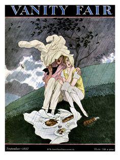 illustration de couverture de magazine : Vanity Fair, septembre 1927, Pierre Brissaud, pique-nique