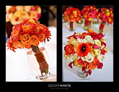 Beautiful bouquets, the left one would be perfect for a fall wedding.