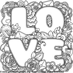 Love Zentangle Art 3 Coloring Pages Valentine Coloring Pages, Love Coloring Pages, Printable Adult Coloring Pages, Coloring Books, Colouring Pages For Adults, Coloring Sheets, Mindfulness Colouring, Paper Embroidery, Zentangle
