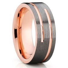 Rose Gold Tungsten Wedding Band - Gunmetal Ring - Gray Tungsten Ring