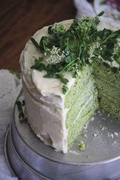 Pea & Mint Cake with Lemon Buttercream and Pea Shoots