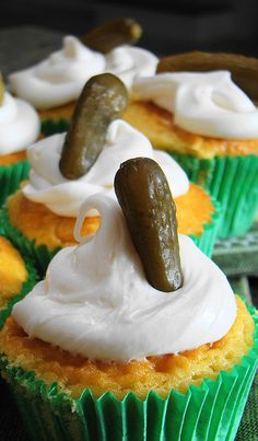 Sweet pickle relish inside savory cupcakes, with a tiny gherkin on top....I can't decide if I should love it or puke!