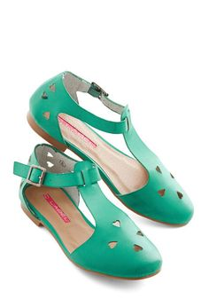 Made to Meander Flat in Jade - Flat, Faux Leather, Green, Solid, Cutout, Casual, Daytime Party, Good, Variation