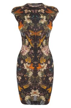 Alexander Mcqueen Floral Dragonfly Print Mini-Dress