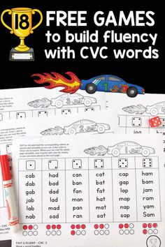 Grab these 18 free games for kids in kindergarten and first grade who struggle with blending CVC words. Print the pages and put them in a folder. Color the trophy to show that students can read a page correctly and quickly. The games build on each other s Reading Fluency Games, Reading Games For Kindergarten, Fluency Practice, Teaching Reading, Free Reading Games, Teaching Ideas, Learning, Kindergarten Phonics, Reading Resources