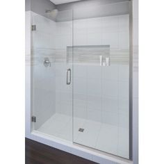 "Basco Celesta 76"" x 47"" Pivot Adjustable Door and Panel Shower Door Trim Finish: Chrome, Glass Type: Clear Glass"