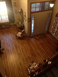 Entry way living room Allan & Roth handscraped Lodge oak