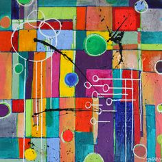 Love the colors.  30 x 30 'Property Lines II' abstract on canvas by Alisa Steady alisasteadyart@gmail.com