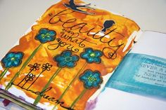 By Donna Downey: pan pastel for journaling - loving the orange colour - I rarely use, but it looks so fresh!