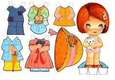 Little girl & kitty paper doll Paper Toys, Paper Crafts, Flower Hats, All Paper, Vintage Paper Dolls, Retro Toys, Sweet Memories, Doll Accessories, Kitty