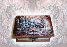 Dragon - Small wooden jewellery box, hand-painted box, fantasy art, magic beast, jewellry storage, dragon art, gift for her, home decor
