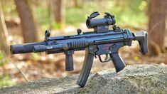 beautiful with suppressor Weapons Guns, Airsoft Guns, Guns And Ammo, Indoor Shooting Range, Submachine Gun, Shooting Guns, Military Guns, Cool Guns, Firearms