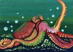 ACEO ATC Octopus Marine Wildlife Fish Art Original Painting-Carla Smale #Realism
