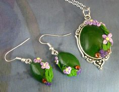 Green Floral Polymer Clay Jewellery Set. #Alan #Cordiner #Polymer #Clay #Creations