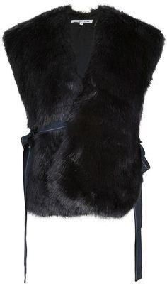 Helmut Lang Faux Fur Wrap Vest