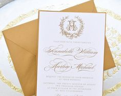 Navy blue and gold wedding invitations, vintage wreath wedding invitations, wreath monogram wedding invitation, gold foil save the dates Printable Wedding Invitations Monogram by EdenWeddingStudio Monogram Wedding Invitations, Classic Wedding Invitations, Vintage Wedding Invitations, Printable Wedding Invitations, Wedding Invitation Sets, Elegant Wedding Invitations, Wedding Stationery, Wedding Caligraphy, Navy Blue And Gold Wedding
