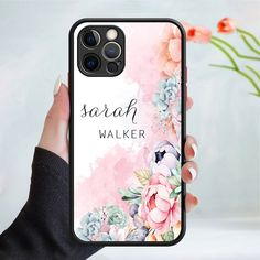 Personalised flower pattern phone case cover 245 Black (Apple Models Only) - 6