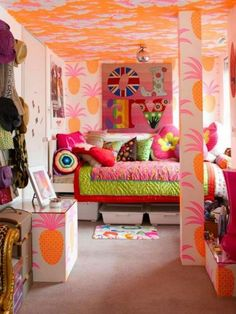 Bedroom , Creative Little Girls' Bedroom Ideas with Simple and Feminine Look : Impressive Bedroom For Girls With Colorful Design For Bohemian Look