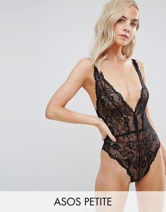 5229a849429fb ASOS PETITE Blair High Leg Lace Body With Lace Up Back - Black Petite Body