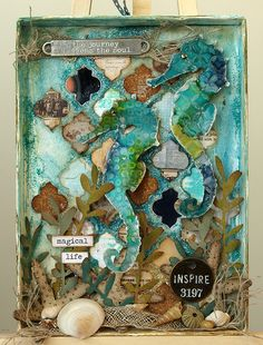 Simon Says Stamp Blog - Magical Life Shadow Box Tutorial by Anna-Karin. Made with Tim Holtz papers, embellishments, and Sizzix dies, and texture paste by Wendy Vecchi.