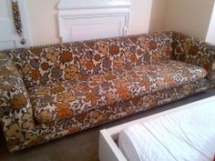 G Plan 1960s Original Fabric Flower Pattern Sofa Vintage Retro 8ft