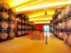 Table and chairs surrounded by #barrels in #oak-wood : the #winery of VALDONICA waiting for you to taste our #wines together .
