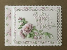 Card made using the Tattered Lace floral fragrance collection. Tattered Lace Cards, Parchment Cards, Sympathy Cards, Greeting Cards, Shaped Cards, Create And Craft, Mothers Day Cards, Pretty Cards, Flower Cards