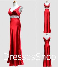 Red Vneck Prom Dress Long Evening Dresses Satin by Dressesshop, $148.00