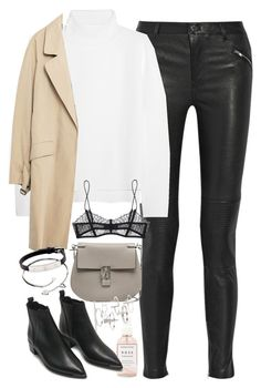 """""""Outfit for winter with leather trousers and a camel coat"""" by ferned on Polyvore featuring BLK DNM, Vanessa Bruno, Chloé, Zara, Herbivore Botanicals, Maison Close, Acne Studios, Topshop and Cartier"""