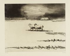 Henry Moore OM, CH (1898‑1986). Sheep in Snow Scene, From Sheep Album, 1974, Intaglio print on paper,  323 x 412 mm, Collection Tate.