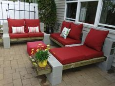 DIY Cinder Block Patio Furniture ~ made with cinder blocks, wood (4x4s), and pillows!