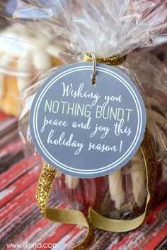 LOVE this gift Idea - NOTHING BUNDT CAKE + Free Tags on { lilluna.com }