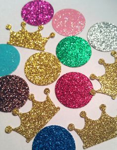 Crowns and Gems diva themed confetti birthday party favor bachelorette for table decor scatter invitations glitter 100 Disney princess prince