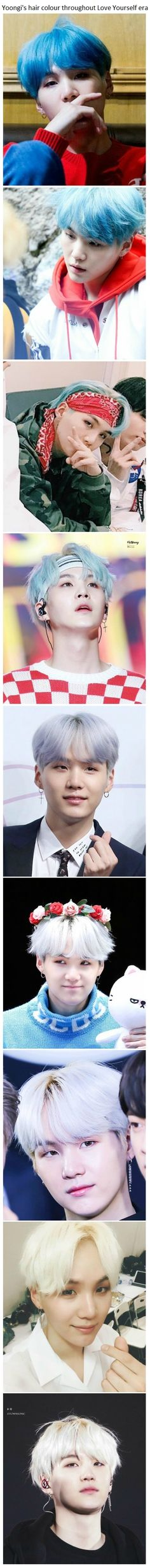 BTS Yoongi's hair colour throughout Love Yourself are