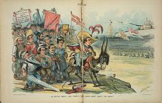 "Bryan-  Print shows William Jennings Bryan riding a donkey labeled ""Popocracy"", holding a sword labeled ""16 to 1"" and a string attached to a small cannon labeled ""Boy Orator"", at the head of a small army of followers, among those identified are ""Stewart, Watson, Coxey, Lease, Peffer, Tillman, [and] Altgeld"", and possibly Joseph C.S. Blackburn. They are armed with farm tools, brooms, and a large sword labeled ""Silver Syndicate"" carried by Stewart. Their military standards state ""Repudiation… Political Satire, Political Cartoons, Farm Tools, The Orator, Vintage Love, Caricature, Comic Art, Joseph, Arms"