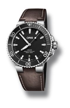 New 2017 edition of Oris Aquis Date diver's watch with brown leather strap (Ref. no. 01 733 7730 4154-07 5 24 10EB)