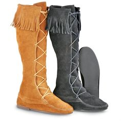 Sportsman's Guide has your Men's Minnetonka Moccasins® Knee - high Front  Lace Hardsole Boots available at a great price in our Casual Shoes  collection