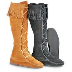 Men's  Minnetonka Moccasins Front Lace Hardsole Boots