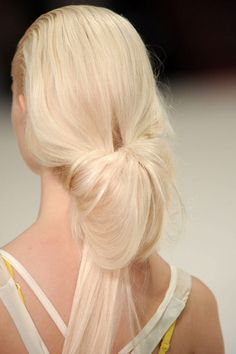 pump up the volume with an easy soft halfway pull through ponytail