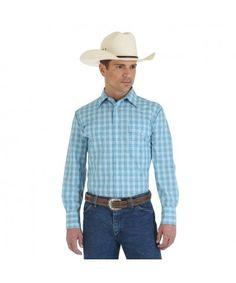 d35bb7080d Wrangler Wrinkle Resist Long Sleeve Spread Collar Plaid Shirt - Light  Blue Blue
