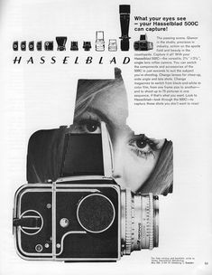 Two print advertisements for Hasselblad cameras from 1970.