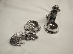 Pair of Silver Plated Novelty Dog and Bowl Salt Cellars at Linden & Co, in London, . Salt Cellars, Antique Furniture, Antique Silver, Silver Plate, Most Beautiful, Fine Jewelry, London, Dog, Sterling Silver
