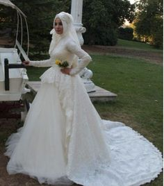 Cheap muslim wedding dress, Buy Quality wedding dress with sleeves directly from China modest wedding dress Suppliers: Modest Wedding Dresses with Sleeves High Neck Lace Tiered Tulle Muslim Wedding Dress 2016 vestido de noiva renda Modest Wedding Dresses With Sleeves, 2016 Wedding Dresses, Cheap Bridesmaid Dresses, Bridesmaids, Bridal Hijab, Bridal Gowns, Formal Wedding, Lace Wedding, The Dress