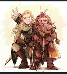 """Never thought I would die next to an Elf""""And what about a Friend?"" Jrr Tolkien, Hobbit Art, The Hobbit, Fanart, Legolas Und Thranduil, Gandalf, Bagginshield, Illustration, Middle Earth"