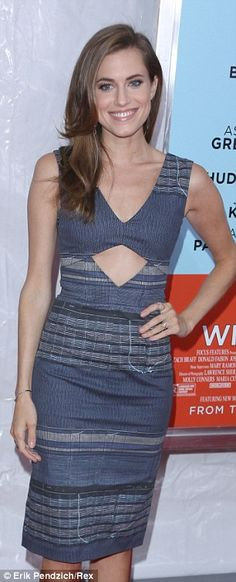 She's blue: Allison Williams arrived in a printed blue dress with a cutout detail